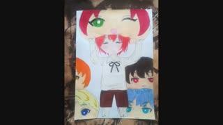 نقاشی جدیدم ^-^ سوکاسا ♡~♡ تولدت مبارک سانیو ^0^