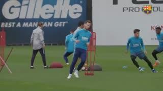 تمرین بارسلونا برای دیدار با لیورپول