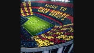 طرح موزاییکی هواداران بارسلونا برای دیدار با لیورپول