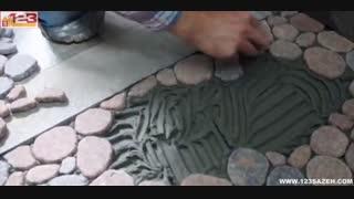 ساخت کفپوش با سنگ رودخانه