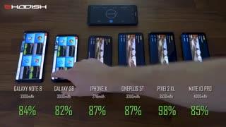 مقایسه باتری بهترین گوشی های 2017