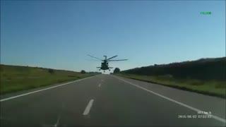 استفاده هلیکوپتر از جاده در روسیه