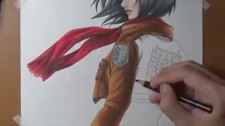 نقاشی حرفه ای میکاسا از انیمه حمله به تایتان