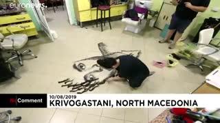 نقاشی با تهمانده موهای مشتریان در آرایشگاه