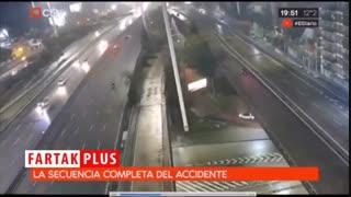 سقوط وحشتناک خودروی سواری از پل با حداکثر سرعت