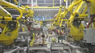 نمایشی از جوشکاری مقاومتی خط تولید بدنه خودرو   Car Body Production Line