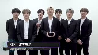 BTS  برنده Favorite Duo or Group-Pop/Rock مراسم AMAs 2019 / بی تی اس